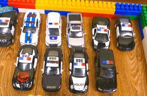 闪电麦昆校园公交车相遇啦 警车依次排队进入停车场