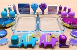 DIY,紫vs蓝色过期化妆品混入无硼砂透明泥中,两种颜色真漂亮!