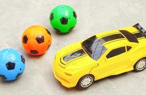 足球变身电池给黄色变形金刚车装上电池测评行驶