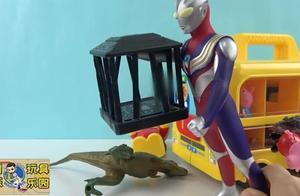 迪迦奥特曼用笼子把恐龙关起来了,迪迦和小猪佩奇一起玩游戏