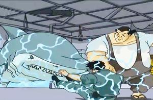 成龙历险记:特鲁把成龙从鲨鱼池拉出来,晚一秒成龙就被撕碎了