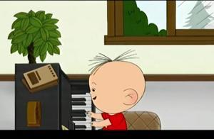 大耳朵图图:图图这是在练琴?妈妈不在身边时,图图直接玩上了