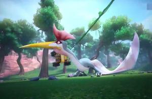 阿五发现风神翼龙的脖子很僵硬,猪猪侠决定好好利用它的弱点!