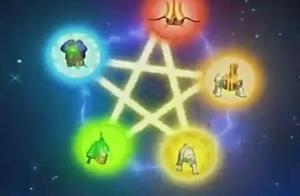 神兽金刚:金木水火土五个方位围攻,组成神兽五行阵,战胜怪兽!