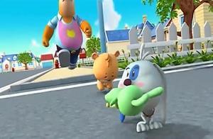 小熊优恩:熊爸爸开会和狗狗争夺兔兔之战,优恩却玩的非常开心!