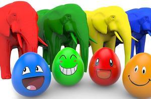 5颜6色的奇趣蛋,大象用鼻子打开,发现里面是各种水果~