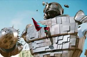 这个机器人怪兽看着大,没想到这么弱,男子一拳就能把他锤爆