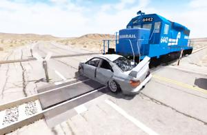 BeamNG:模拟汽车遮挡视野导致的火车车祸过程,太惨烈了!