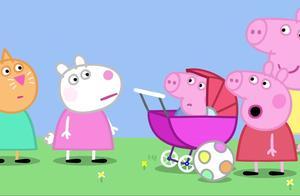 小猪乔治扮成猪宝宝,佩奇的同学都在照顾他,乔治很享受这个游戏