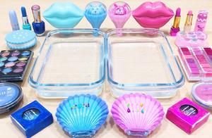 把蓝色和粉色过期化妆品混在无硼砂水晶泥,你更喜欢哪一种?