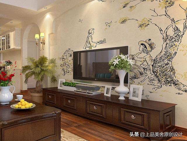 88平米美式风格,大学老师手绘原创电视背景墙,尽享田园风情
