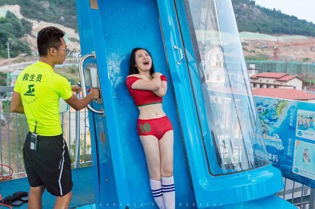 重庆网红水上项目 90度垂直落体深海跳楼机刺激到流泪