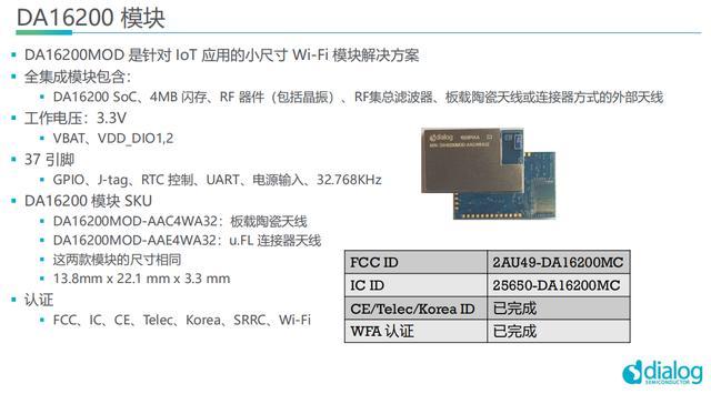 发力实时联网的IoT市场,Dialog推出超低功耗Wi-Fi芯片DA16200及模组-芯智讯