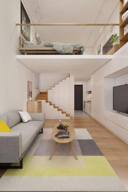 22平米的单身复式公寓,户型小功能齐全,还带有小书房,超实用