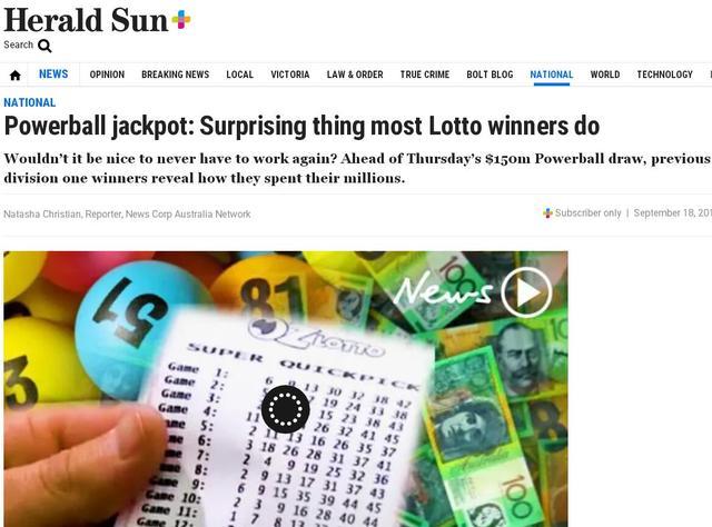 彩票中奖该不该告诉别人?澳大利亚暴富者们结局咋样?