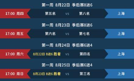 LPL夏季赛季后赛赛程 共三周七个比赛日,决赛日程另外公布
