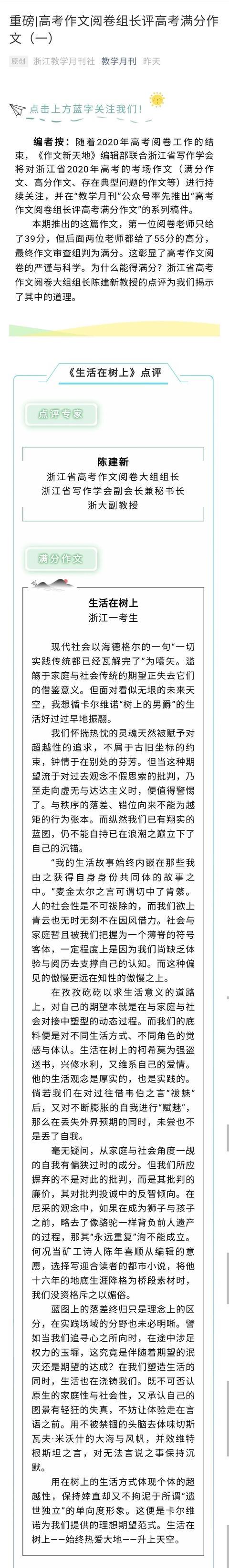 """浙江高考满分作文""""在树上"""",公共表达需要下树""""说人话"""""""