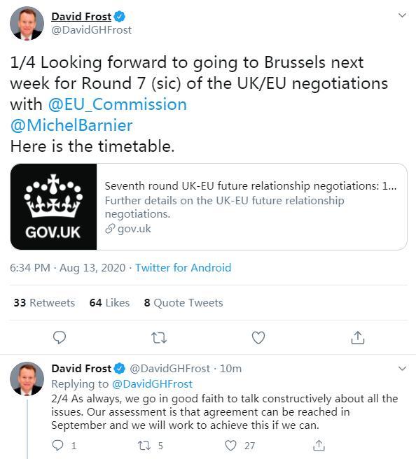 """英国""""脱欧""""谈判首席代表:英欧预计9月可达成""""脱欧""""协议"""