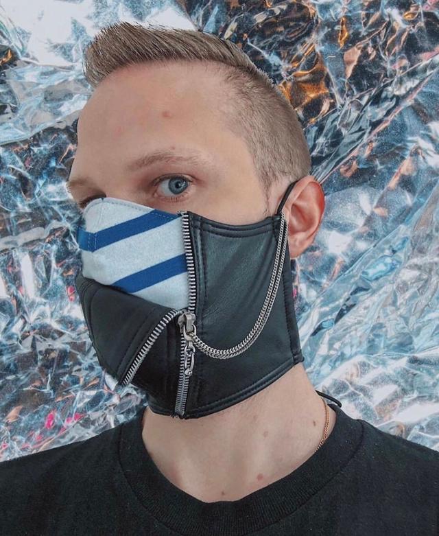 """法国时装师设计""""时装口罩"""",皮革镶钻+拉链,戴着憋不s算我输"""