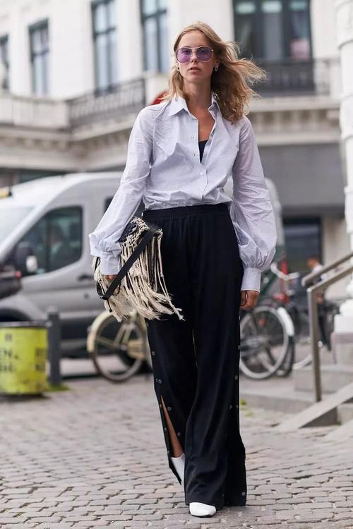 阔腿裤又肥又大,穿什么样的上衣才适合?小个子女生容易踩雷