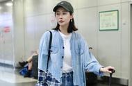 仙女姐姐李纯牛仔衬衣搭配超短裤时尚感爆棚,镜头下白到发光