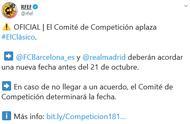 官方:首回合西班牙国家德比确认延期