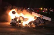 美国一架小型飞机坠毁在加州高速公路,飞行员轻伤