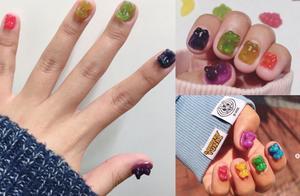 狂!韩国网友把小熊软糖黏指甲,晶亮透明感超可爱