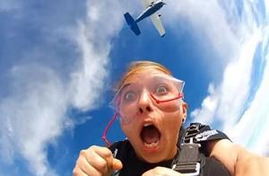 美女挑战极限跳伞,兴奋过度嘴里飞出这个,教练不幸中招