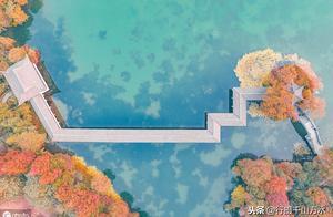 航拍杭州西湖秋色,湖光山色层林尽染,宛如一幅美丽画卷