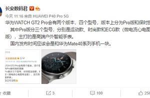 曝华为 WATCH GT2 Pro 将会有两个版本,四个型号