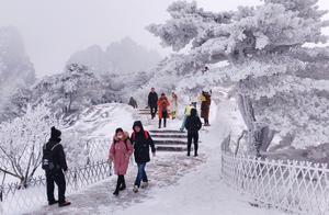 安徽:雪后黄山,童话般世界令游客欣喜若狂