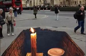 男子在街上画了一幅画,吓得路人纷纷不敢过去,网友:以假乱真