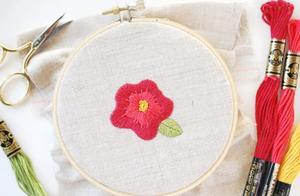 精致鲜艳的刺绣小红花DIY详细教学,美观可爱易上手