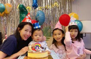 蔡少芬晒照为1岁儿子庆生,母子四人共用一张脸,张晋隔空送祝福