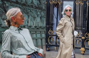 奶奶辈时尚博主超敢穿,无惧年龄自信露腰,满头白发却越活越年轻