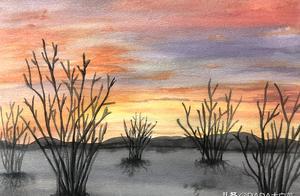 水彩画教程   只需5步,教你画出富有意境的日落