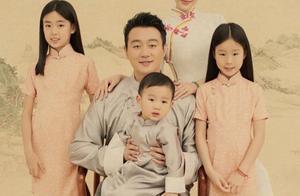 佟大为民国风全家福曝光,两女儿长相差异大,吃货儿子略显淘气!