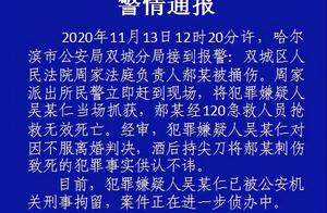 黑龙江哈尔滨 警方通报嫌犯因 不服离婚判决酒后持刀刺死法庭负责人