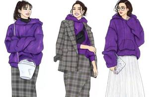日本插画师春夏手绘穿搭,时髦又实用,每一套都是穿搭范本