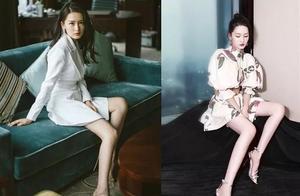 不止韩国有腿精,国内女星腿都够美,杨幂、李沁精修前后差别不大