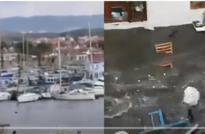 希腊发生6.9级地震引发海啸:船被成排冲走,大水侵袭街道
