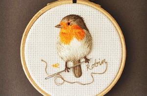 """好像""""扑棱""""一声就会飞走!手工刺绣的鸟,好逼真,附20张刺绣图"""
