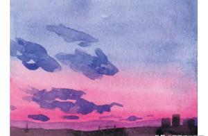 简单4步,画出唯美晚霞水彩画!值得学习!