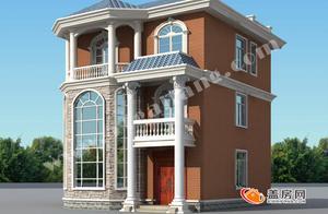 经典小户型农村三层小楼,带罗马柱的房子才洋气!