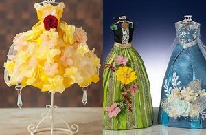 迪士尼公主礼服 镶上永生花长这样艾莎洋装开着浅蓝玫瑰超仙