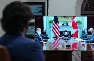 美国总统拜登与加拿大总理特鲁多举行视频会晤