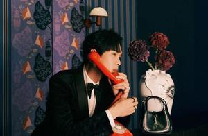 张若昀亮相Gucci派对,丝绒黑西装小领结,复古摩登贵气雅痞