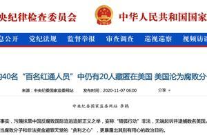 """中纪委:""""百名红通人员""""中仍有20人藏匿美国,美国沦为腐败分子避风港"""