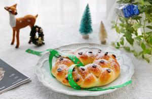 简单有颜值的圣诞花环面包,圣诞节吃更有味道,香甜浓郁超美味